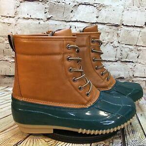 Unbranded Women's Lace Up Brown Green Waterproof Duck Boots Size 40 (US 10)