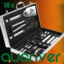 Brand New 18Pcs BBQ Barbeque Cooking Utensils Tool Set in Aluminun Case