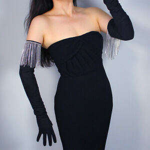 SUEDE LONG GLOVES Faux Leather Black w/ Sparkling Ice Rhinestone Dangling Fringe