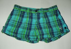 Victoria's Secret PINK Blue Green Plaid Cuffed Shorts Size 4