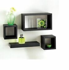 S-oak Wood Set of 4 Floating Wall Cube Shelf Storage Display Unit