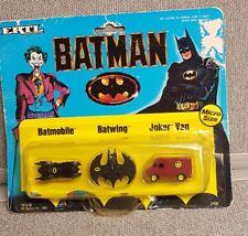 VTG 1989 Batman Batmobile Batwing Joker Van Micro Size Vehicles ERTL NRFP NOS