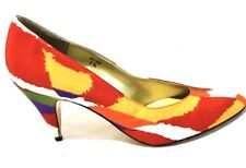 J Renee Couture Kitten Heel Designer Collection Silk Multicolor Women Size 7N