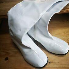 White knee legth ladies boots pvc size 5