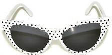 CAT EYE OWL SUNGLASSES DARK LENS POLKA DOTS GLASSES SHADES UV400 WHITE WITH DOTS