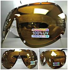 HUGE OVERSIZE VINTAGE SHIELD Style Gold SUN GLASSES Bronze Mirror Polarized Lens