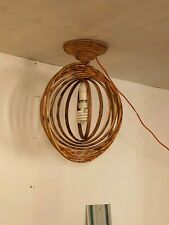 HANDMADE RUSTIC DISTRESSED WOOD CEILING LIGHT WOODEN ABSTRACT UNUSUAL ARTISTIC