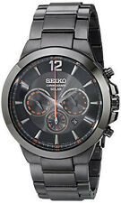 New Seiko SSC323 Black Ion-Plated Solar Chronograph Stainless Steel Men's Watch