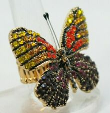 "Butterfly Yellow Orange Cocktail Ring Crystal 1.5"" Silver Plated Stretch Band"