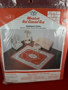 Miniature Oriental Rug Needlepoint Petit Point Kit Dollhouse Create Your Own Red