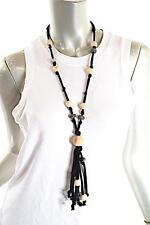 PASHMERE Black Cotton/Silk Cord Necklace Crystal/Hematite/Wood Beads - NWT - 14""