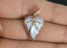 Kabana 14K Rose Gold Inlay Pink Mother Of Pearl Heart Diamond Charm Pendant