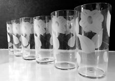 VTG 1940-1950 CLEAR ETCHED FLORAL FLOWERS LEAVES~6~12oz~BEVERAGE~TUMBLER~GLASSES