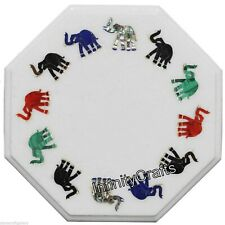 15 Inches Marble Coffee Table Top Inlay with Elephant Design Corner Table Top