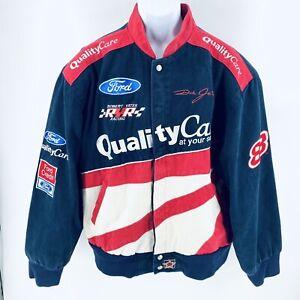 Vintage 90s Dale Jarrett #88 J.H. Design Racing Jacket Blue NASCAR Ford XL USA