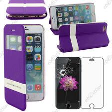 """Accessoire Housse Coque Etui S-View Flip Cover Violet Apple iPhone 6S 4,7"""" Verre"""