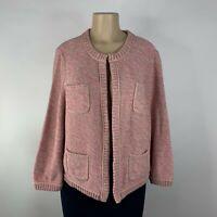 Ann Taylor LOFT Cardigan Sweater Size XL Pink Open Front Chunky Knit Longsleeve