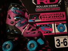 Rd Roller Derby Kids Skates Girls 3-6 Adjustable Sizes Silver-5 bearings Quick