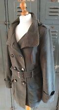 Comme neuf Velvet Khaki Green Military Parka Jacket Mac Coat Size UK 12 Brushed Cotton