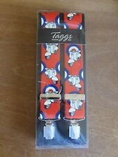 TAGGS RED BACKGROUND, WITH, LAMBRETTA & TARGET  MOTIF BRACES , CLIP END .