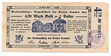 Demmin 4,20 Goldmark = 1 US Dollar 25.11.1923 Wertbeständiger Notgeldschein (853