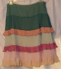 American Retro Gauzy Cotton Pleats/Tiers/Ruffles Lined Pastels Knee Skirt-36/6