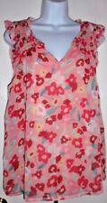Elle Sleeveless Floral Printed Smocked Shoulder V-Neck Top Pink M Chiffon Blouse
