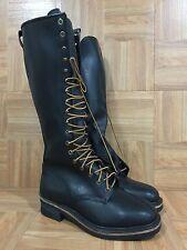 "Vintage🔥 Military Boots Pole Climber 16"" Extra Tall 18 Eyelet Leather Sz 6.5 E"