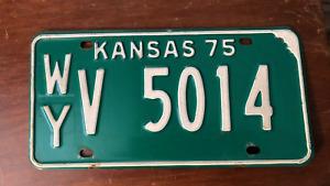 1975 KANSAS LICENSE PLATE WY V 5014