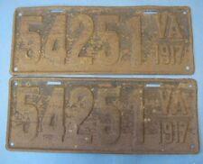 1917 Virginia license plates pair matched pair