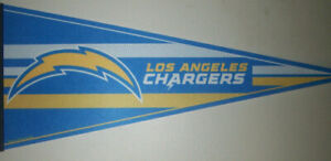 """2020 NEW WinCraft Los Angeles Chargers NFL Classic Carded Felt Pennant, 12 x 30"""""""