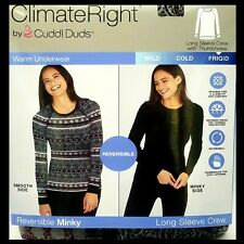 Cuddl Duds Women's Sm Top Reversible Minky Baselayer ClimateRight Thermals