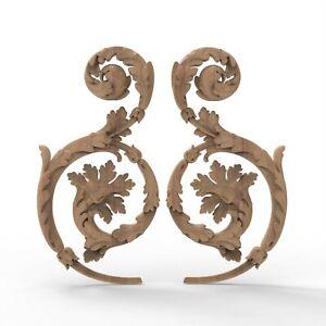 Wood Carved Acanthus Leaves Floral Baroque Applique Furniture Restore Add Detail