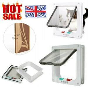 NEW Magnetic 4 Way Locking Lockable Cat Flap Small Puppy Dog Cats Pet Door Gate