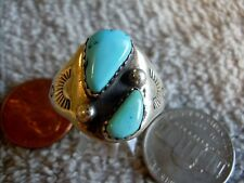 New Light Weight UnisexSilver Turquoise Ring Navajo Mary Lincoln Size 11