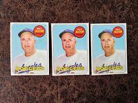 (3) 1969 TOPPS Baseball Walter Alston #24 - Los Angeles Dodgers Legend