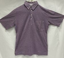 Maus & Hoffman Polo Shirt Blue Red Print Made in Italy Size 40 US Small