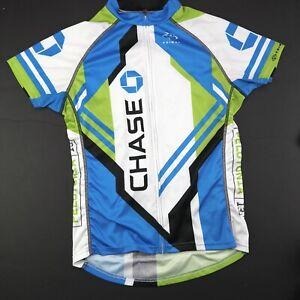 Womens Large Blue / Green Chase Bank Full Zip Cycling Biking Jersey