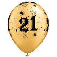 Party Supplies Birthday 21st  Sparkle Gold & Black 28cm Balloons pk 10