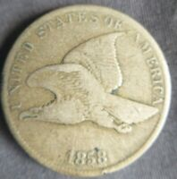 1858 Small Letters Flying Eagle Cent Coin Fine+ F or Very Fine VF mark at date