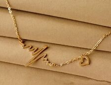 Necklace clavicle EcG heart pendant 18 kt gold