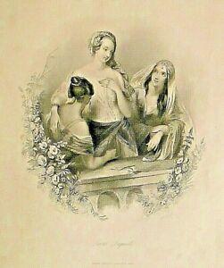 Love's Inquest, w/verse, by T.C. Westenra, Romance, Vintage, 1845 Antique Print