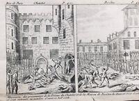Massacre de Septembre 1792 Paris Gravure ancienne d'époque Révolution Française