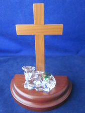 WATERFORD CRYSTAL Nativity Lamb Sheep Laying Down & Wood Cross ~ STICKER EXC