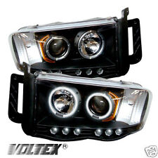 2002-2005 DODGE RAM 1500 2500 3500 CCFL LED PROJECTOR HEADLIGHTS LIGHTBAR BLACK