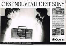 PUBLICITE ADVERTISING  1985   SONY   chaine hi-fi (2 pages)