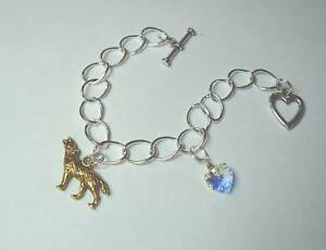 Vampire Wolf Inspired large link charm Bracelet heart & wolf charms multi sizes