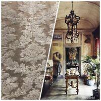 SALE! Designer Velvet Chenille Burnout Upholstery Fabric - Taupe & Gray