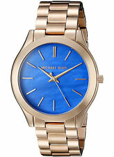 Michael Kors Women's MK3494 Slim Runway Rose Gold-Tone Blue Dial Watch