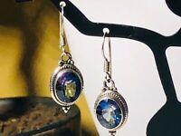 Vintage  925 sterling silver simulated tanzanite earrings